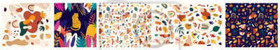 Fototapete Decorative abstract collection with colorful doodles. Hand-drawn modern illustration