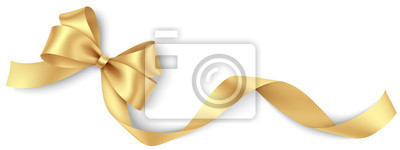 Fototapete Decorative golden bow with long ribbon isolated on white background. Holiday decoration. Vector illustration