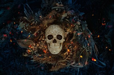 Fototapete Decorative human skull on dark natural mistery background. magical esoteric ritual. symbol of samhain sabbat. Mysticism, divination, wicca, occultism, Witchcraft concept. flat lay