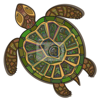 Decorative ornamental turtle with sign, colorful ethnic pattern.
