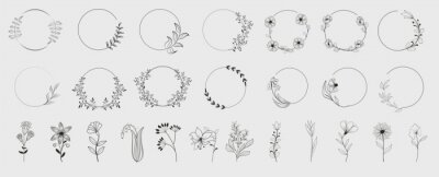 Fototapete Decorative round floral frames made of blooming flowers hand drawn with contour lines on white background. Vintage laurel wreaths collection. Set of circular natural design element.Vector illustration