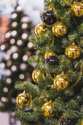 Dekoration Weihnachtsbaum.Fototapete Dekoration Weihnachtsbaum Mit Viel Gold Und Schwarzen Kugeln