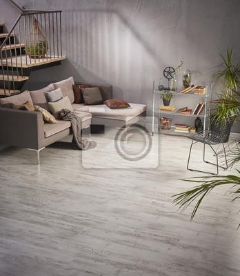 Dekoration Wohnzimmer Moderne Wohndesign Holztreppe Grau Sofa
