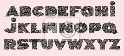 Dekorative Alphabet mit einem Paisley Zen Doodle Tattoo Ornamente f