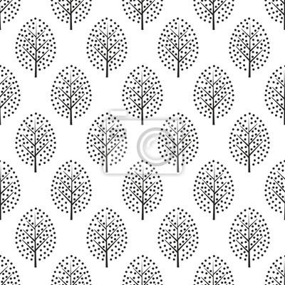 Fototapete Dekorative Bäume der Schwarzweiss-skandinavischen Art nahtloses Muster. Netter Naturhintergrund mit Blättern. Abstrakte Waldvektorillustration. Design für Textilien, Tapeten, Stoff.