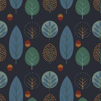 Fototapete Dekorative Bäume mit Eicheln nahtlose Muster. Nette Natur Hintergrund mit Blättern. Skandinavischen Stil Nacht Wald Vektor-Illustration. Design für Textilien, Tapeten, Stoffe.