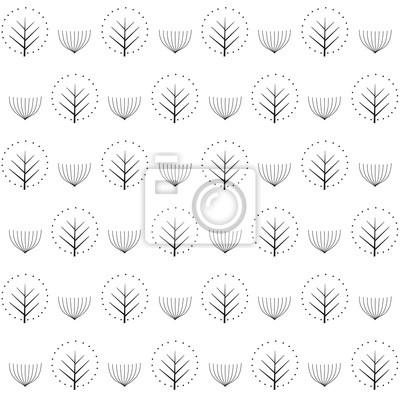 Fototapete Dekorative Bäume nahtlose Muster auf weißem Hintergrund. Nette Natur Hintergrund. Design für Textilien, Tapeten, Stoffe.