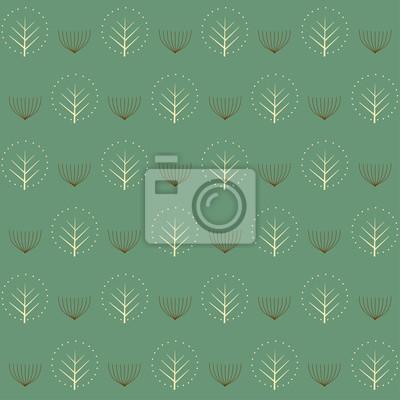 Fototapete Dekorative Bäume nahtlose Muster. Nette Natur Hintergrund. Design für Textilien, Tapeten und Stoffe.