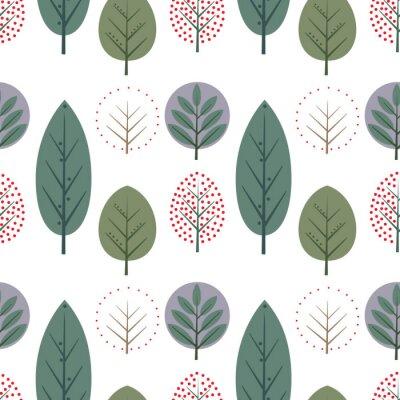 Fototapete Dekorative Blätter nahtlose Muster. Nette Natur Hintergrund mit Bäumen. Skandinavischen Stil Wald Vektor-Illustration. Design für Textilien, Tapeten, Stoffe.