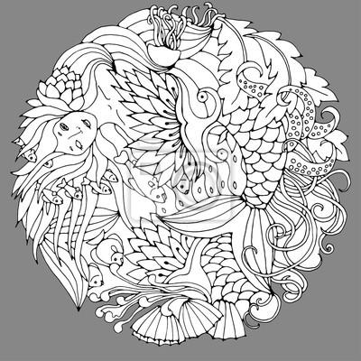 Dekorative element mit meerjungfrau, blätter, fische. schwarz-weiß ...