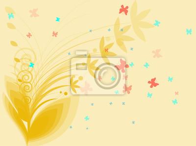 Dekorative Frühling Blumen auf gelbem Hintergrund