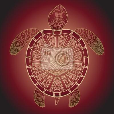 Dekorative Grafik-Schildkröte, Tribal Totemtier, Vektorillustra