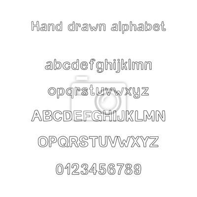 Dekorative hand gezeichnetes alphabet. handschriftlicher vektor ...