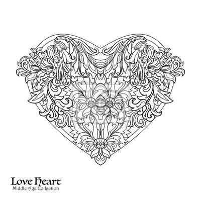 Dekorative Liebe Herz Mit Floral Dekorativen Vintage Muster