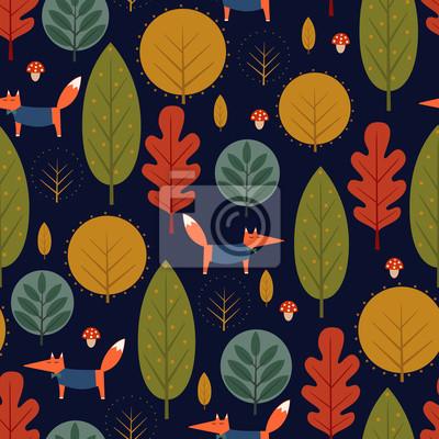 Fototapete Dekorative Wald-Vektor-Illustration. Cute wilde Tiere Natur Hintergrund.