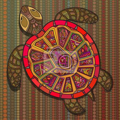 Dekorative Zierschildkröte mit Zeichen, bunte ethnische Muster.