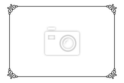 Fototapete Dekorativer Seitenrahmen. Vector Line Stil Grenze Vorlage