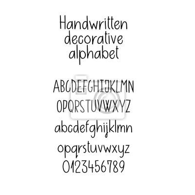 Dekoratives alphabet. handschriftliche schrift. großbuchstaben ...