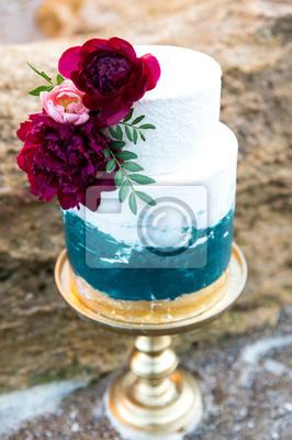 Dekoriert Grossen Blauen Und Weissen Hochzeitstorte Mit Blumen