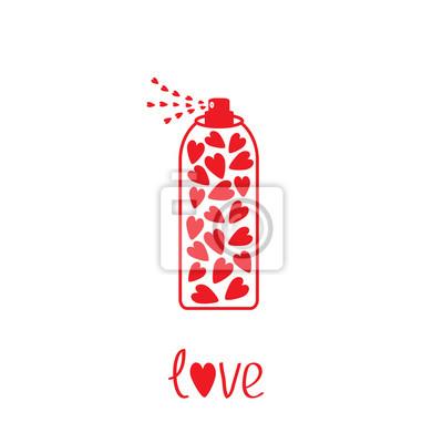 Deodorant, Spray mit Herz im Inneren. Karte