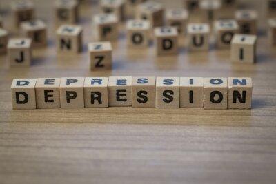 Depression in Holzwürfel geschrieben