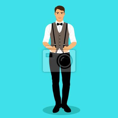 modischer Stil 100% echt Großhandelsverkauf Fototapete: Der bräutigam. ein mann mit hosenträgern.