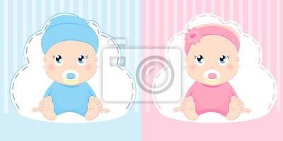 Fototapete Der Entwurf Der Niedlichen Baby Und Jungenkarte Hübsches Sitzen