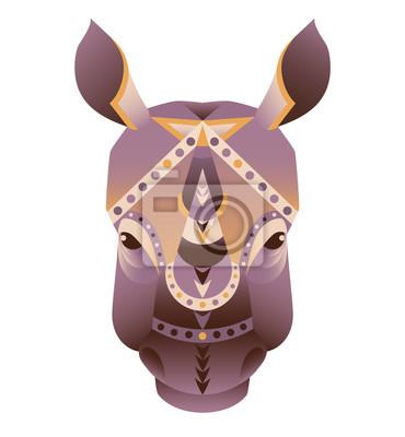 Der Kopf der Nashorn Vektor-Illustration. Zusammenfassung Tier, Symbol, drucken, Karte, Logo. Isoliert auf weißem Hintergrund