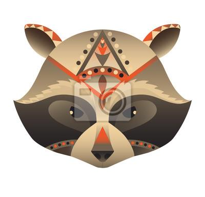 Der Kopf der Waschbär Vektor-Illustration. Zusammenfassung Tier, Symbol, drucken, Karte, Logo. Isoliert auf weißem Hintergrund