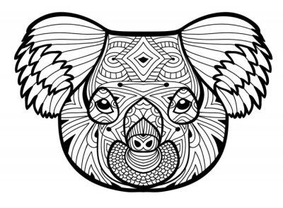 Der Kopf Des Koalas Totem Ausmalbilder Für Erwachsene Einfarbige