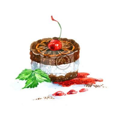 Fototapete Der Kuchen Runde Form Dessert Aquarell Hand Gezeichnet Isoliert  Auf Den Weißen Hintergrund