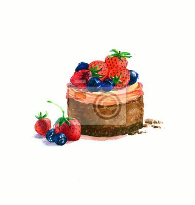 Der Kuchen Runde Form Dessert Aquarell Hand Gezeichnet Isoliert