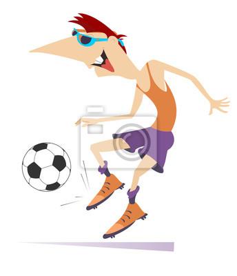 Der Lachelnde Junge Mann Der Fussball Spielt Lokalisierte