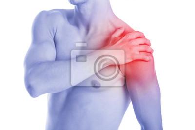 Der Mensch hat Schulter contussion und Schmerzen