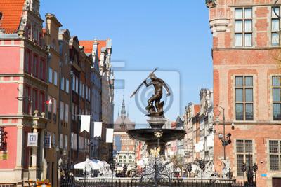 Fototapete Der Neptun-Brunnen und der Altstadt von Danzig