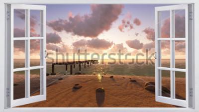 Fototapete Der Strand, der Blick aus dem Fenster.