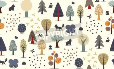 Fototapete Der Vektor illustrierte nahtloses Muster von flachen Waldelementen - verschiedene Bäume, wilde Tiere und Samen.