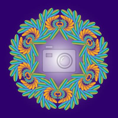 Design elements on blue background
