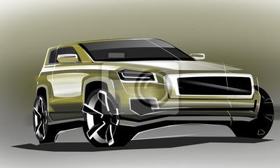 Design sportlich außen auto zeichnet pinsel farbe malerei. fahrzeug ...