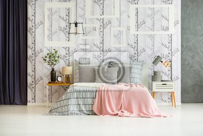 Designer-schlafzimmer mit kingsize-bett fototapete • fototapeten ...