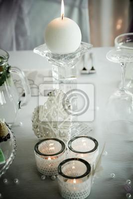 Detail Der Elegante Weisse Dekoration Der Hochzeitstisch Mit Kerzen