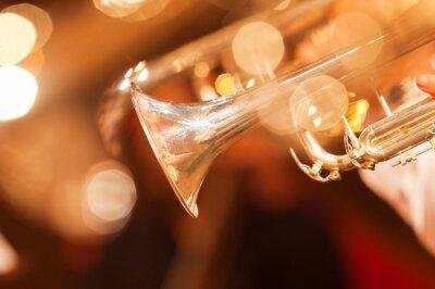 Fototapete Detail der Trompete Nahaufnahme in goldenen Tönen