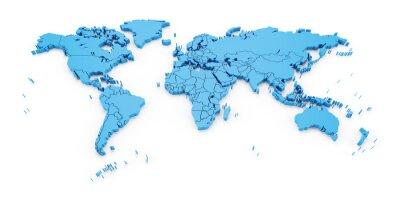 Fototapete Detail Weltkarte mit nationalen Grenzen, 3d render