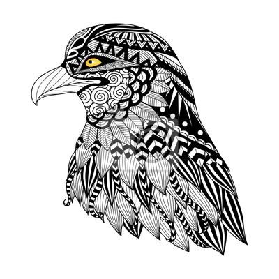 Detail zentangle adler für malvorlagen, tattoo, t-shirt entwurf ...