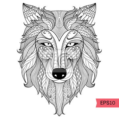 Fototapete Detail Zentangle Wolf Zum Ausmalen Seite Tattoo T Shirt Design Effekt