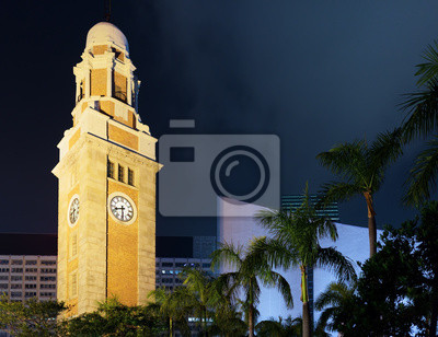 Fototapete Detailansicht-Ansicht der Clock Tower in Hong Kong am Abend
