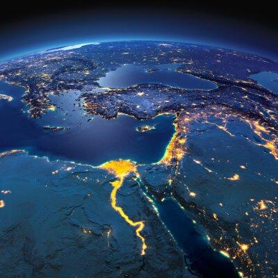 Fototapete Detaillierte Erde. Afrika und dem Nahen Osten auf einer mondhellen Nacht