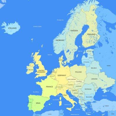Fototapete Detaillierte Europa Karte