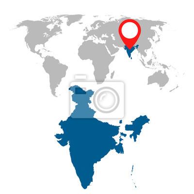 Detaillierte Karte Von Indien Und Weltkarte Navigation Gesetzt