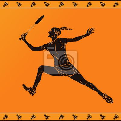 Detaillierte Silhouette der weiblichen Badmintonspieler